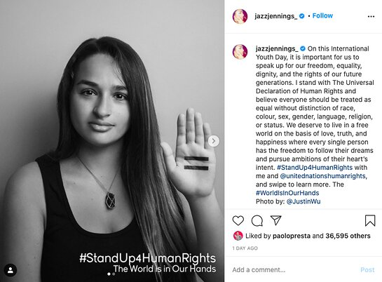 Jazz Jennings supports equality through the World is in Our Hands.