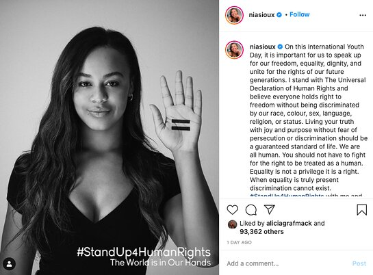 Nia Sioux supports equality through the World is in Our Hands.