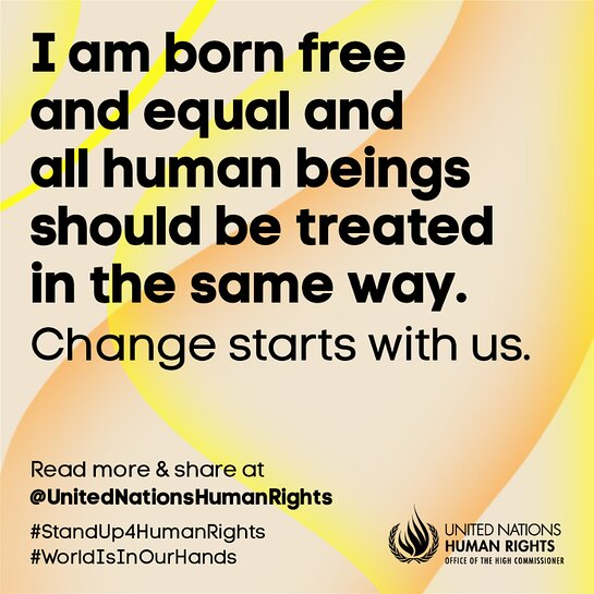Join the community. Stand up for human rights, The World is in Our Hands