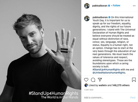 Pablo Alboran supports equality through the World is in Our Hands.