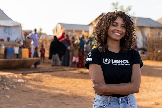 Kat Graham visiting refugees in Melkadida camp, Ethiopia, in July 2019