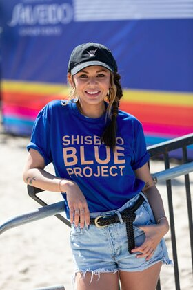 Janel Parrish attends the Shiseido Blue Project's West Coast beach cleanup
