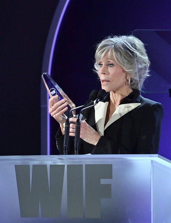 Jane Fonda accepts the Jane Fonda Humanitarian Award