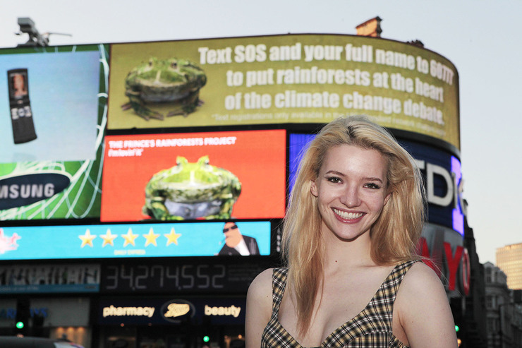 Talulah Riley kisses a frog in support of PRP