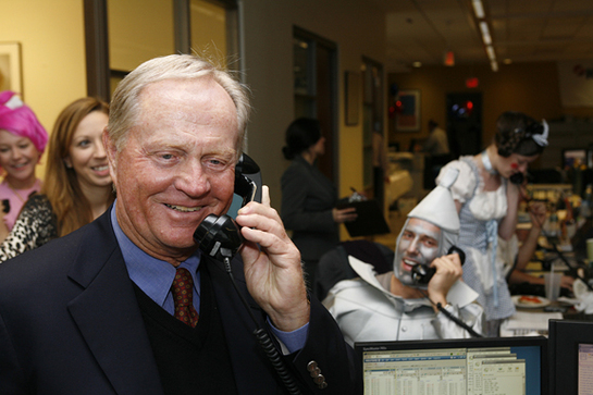 Jack Nicklaus helps costumed traders raise money during ICAP's 17th annual global Charity Day