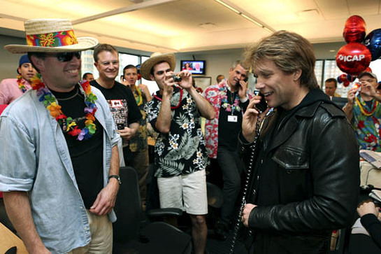 Jon Bon Jovi helps raise money alongside traders on the floor at ICAP's 17th annual global Charity Day