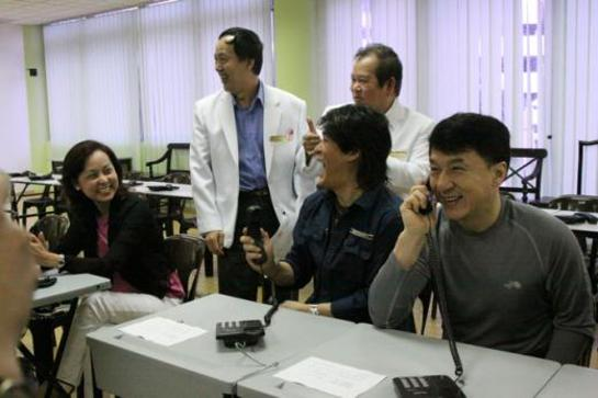 Jackie Chan answering phones at free hospital