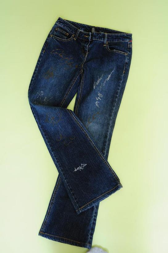 Jeans signed by the cast of Glee