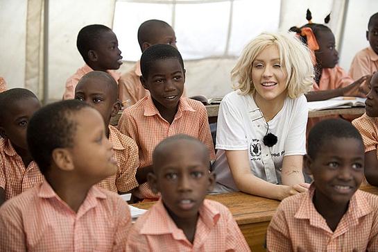 Christina Aguilera in Haiti with WFP