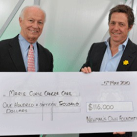Hugh Grant Accepts Charity Donation From Newman's Own Foundation