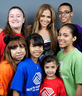 J-Lo with the kids of the BGCA