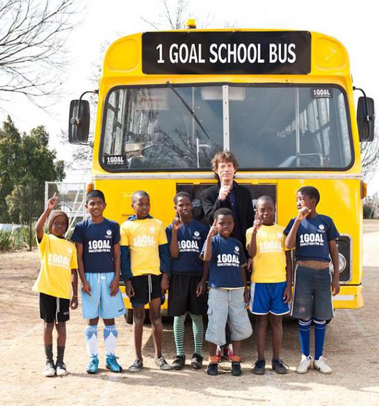 Mick Jagger in South Africa with 1GOAL