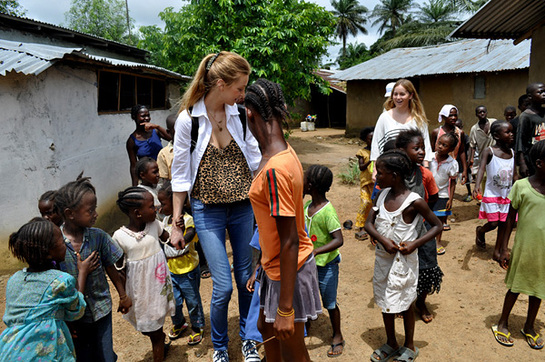 Whitney Port With kids at a local village