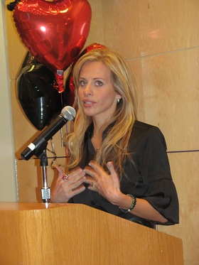 Dina Manzo discussing the launch of Julien's Project Ladybug Fund at Memorial Sloan-Kettering Cancer Center