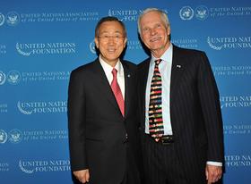 Ban Ky-Moon and Ted Turner at Global Leadership Awards