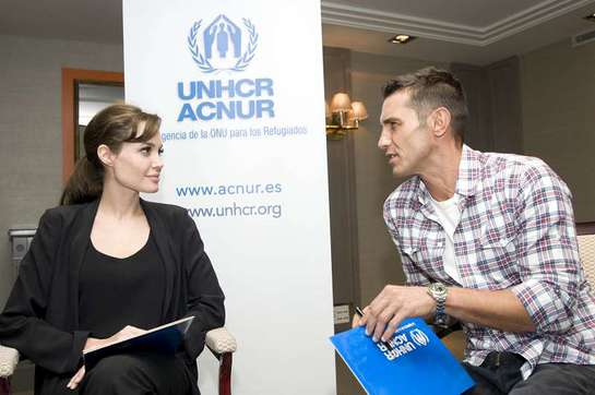 Angelina Jolie and Jesús Vázquez in Spain with UNHCR