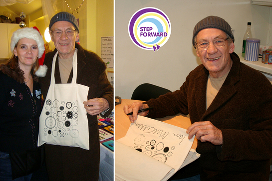 Sir Ian McKellen signs bags for Step Forward
