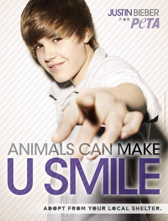 Justin Bieber supports PETA