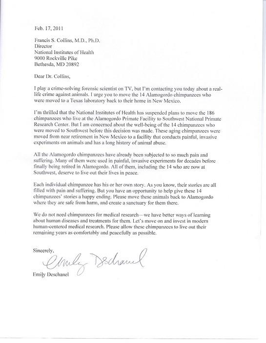 Emily Deschanel letter