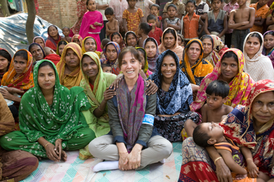Olivia Harrison and the ladies of a Mothers Club in Narsingdi, Bangladesh in February 2011.