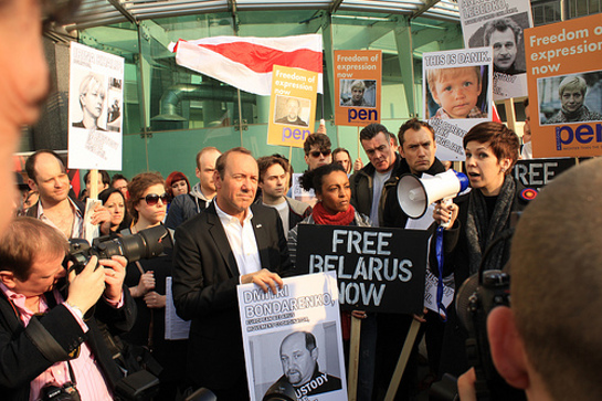 Kevin Spacey and Jude Law protest with Free Belarus Now