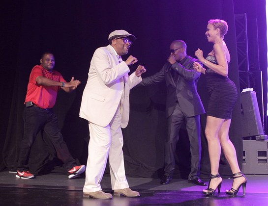 Anthony Anderson, Spike Lee, Jamie Foxx and Tayna Lewis Lee on stage at MJCI Celebration,
