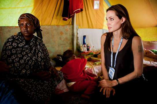 UNHCR Goodwill Ambassador Angelina Jolie meets Somali refugees today at Choucha Camp, located near the Tunisian-Libyan border.