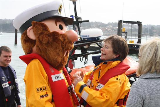 RNLI mascot Stormy Stan with Celia Imrie