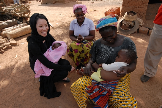 Lucy Liu on field visit with UNICEF in 2008 to Cote d'Ivoire.