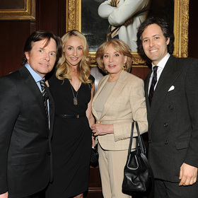 Michael J. Fox, Tracy Pollan, Barbara Walters, and David Lauren.