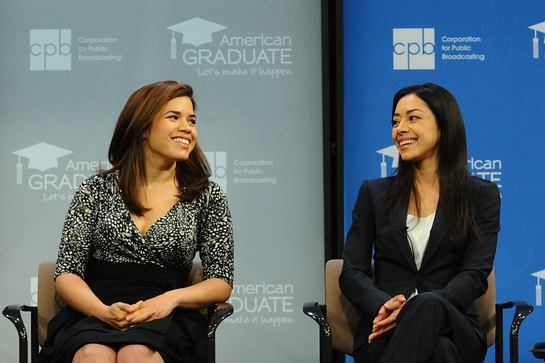 America Ferrera (L) and Aimee Garcia (R) help launch public media's new education initiative