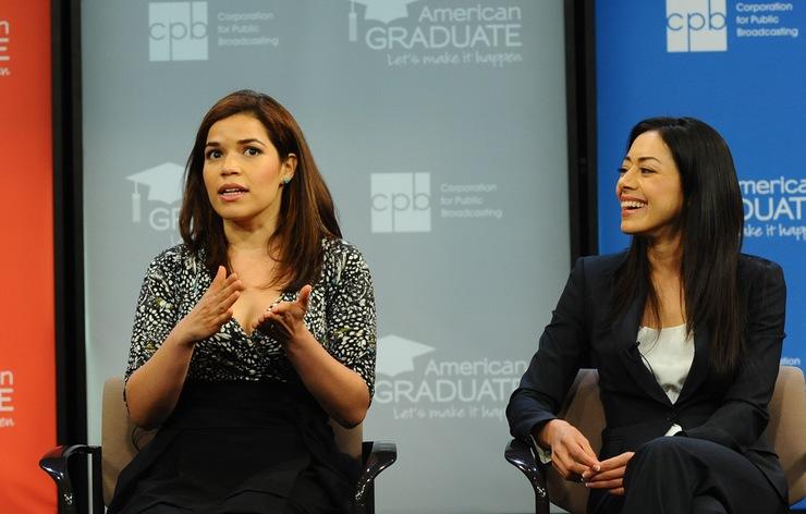 America Ferrera (L) and Aimee Garcia (R) help launch public media's new education initiative