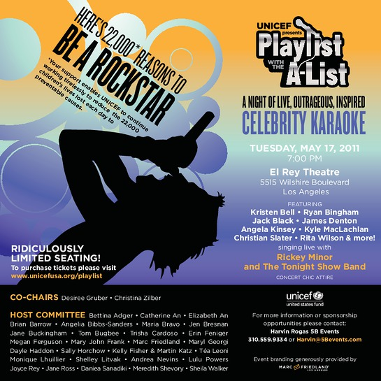 UNICEF Playlist with the A-List celebrity karaoke benefit event