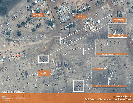 SAF tanks, HETs and artillery in Abyei town 27 May 2011