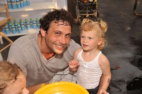 Baby Buggy supporter Jeremy Sisto with his daughter Charlie at the Baby Buggy Bedtime Bash