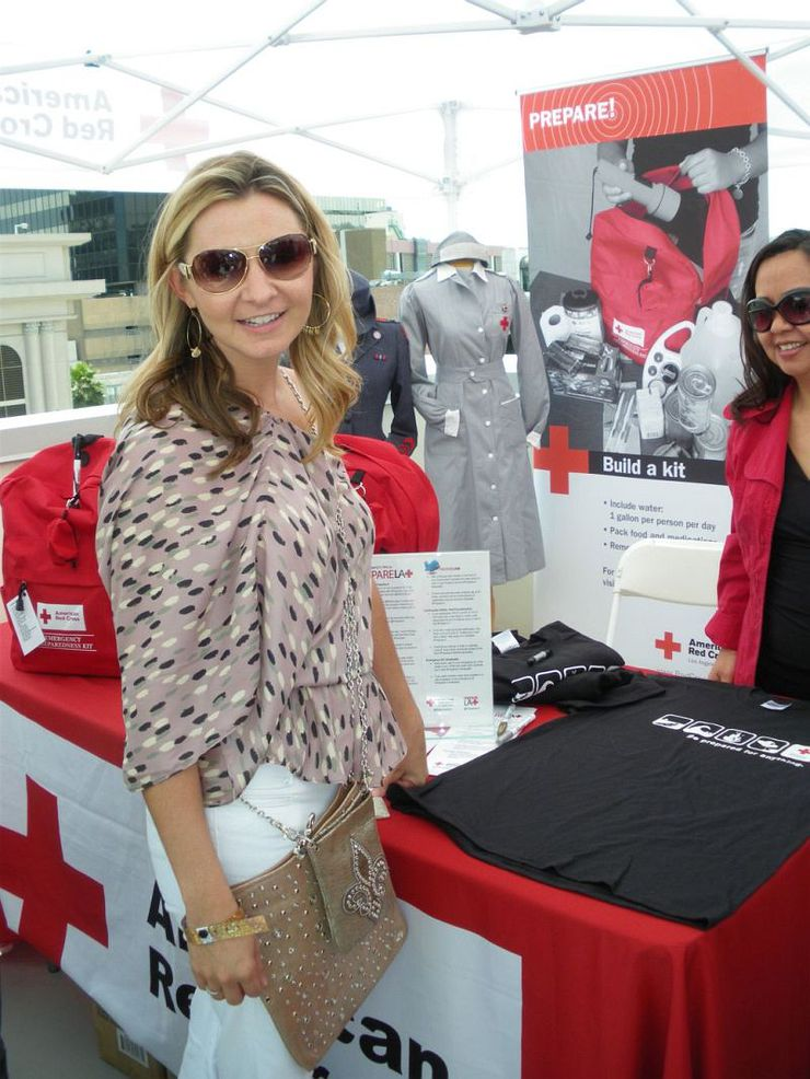 "Beverly Mitchell learns how to be prepared for natural disasters with the Red Cross at Melanie Segal's Red Cross ""Prepare LA"" Trend Lounge"