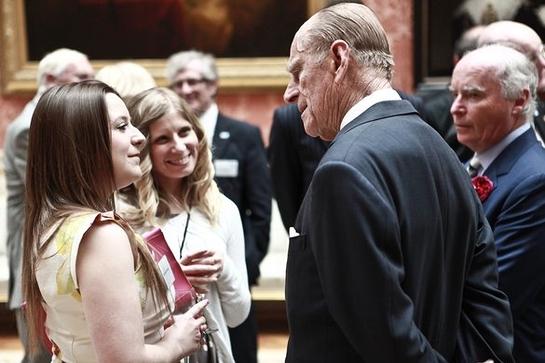 Hannah Holden from Worthing talking to The Duke of Edinburgh