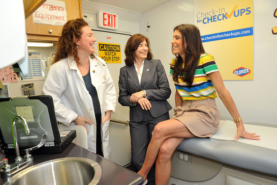 Bethenny Frankel, right, joins Karen Redlener, center, Executive Director of Children's Health Fund (CHF) and Dr. Delaney Gracy, CHF, aboard CHF's Mobile Medical Clinic to kick-off the Clorox Check-in for Checkups program
