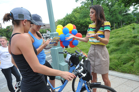 Bethenny Frankel checks-in bikers' healthy habits at the launch of the Clorox and Children's Health Fund Check-in for Checkups program