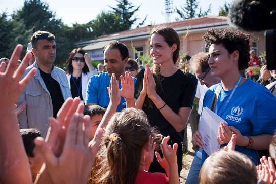 Angelina Jolie at a camp for Syrian refugees in the southern Turkish town of Altinozu.