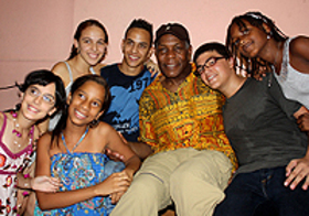 Danny Glover met with children and adolescents during his trip to the 'Cuba and the Afro-Descendant Peoples of the Americas' workshop in Havana, Cuba.