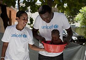 Nykesha Sales and Samuel Dalembert visit the University Hospital of Haiti in Port-au-Prince