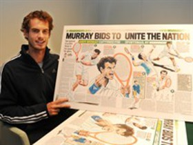 Andy Murray and his picture for Tickets For Troops