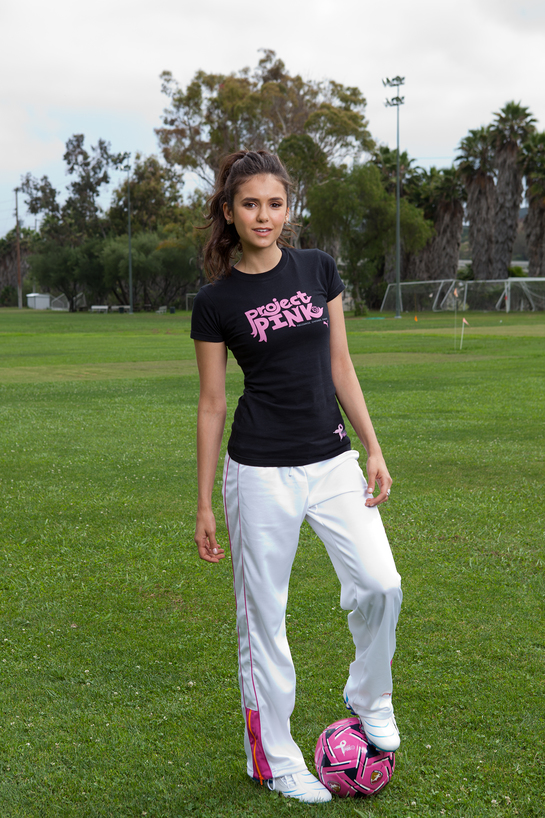 Photo: Nina Dobrev Plays Soccer For Project Pink