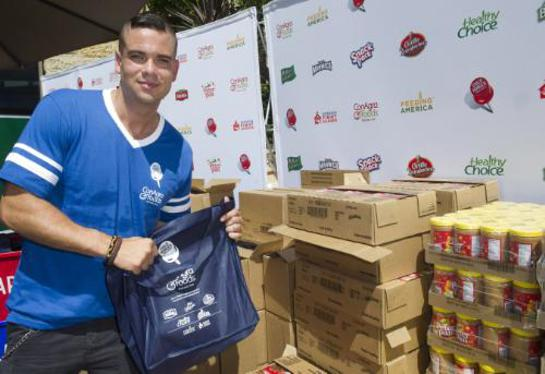 Mark Salling helps pack bags in Hollywood as part of the launch of ConAgra Foods' Child Hunger Ends Here fall campaign.