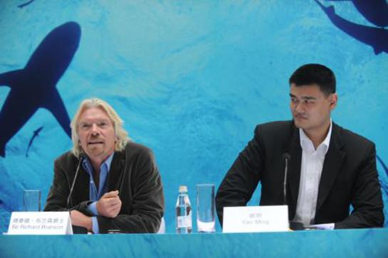 Yao Ming and British Entrepreneur Richard Branson call for greater shark protection at an event in Shanghai on Thursday hosted by international conservation organization, WildAid.