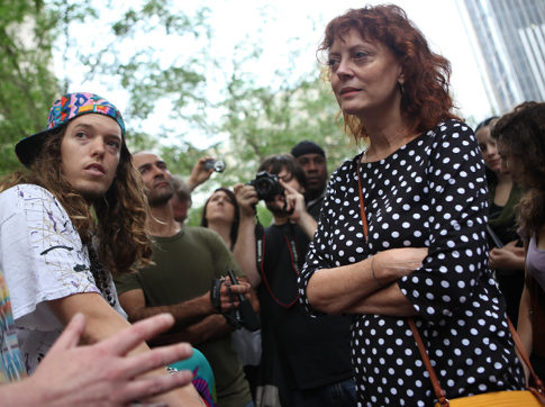 Susan Sarandon with Occupy Wall Street protestors