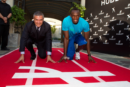 Usain Bolt gets ready to race