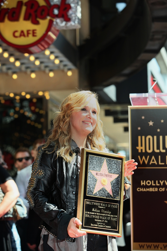 Melissa Etheridge poses after unveiling her new star on the Hollywood Walk of Fame