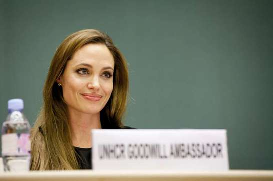 UNHCR Goodwill Ambassador Angelina Jolie at the annual meeting of the refugee agency's governing body